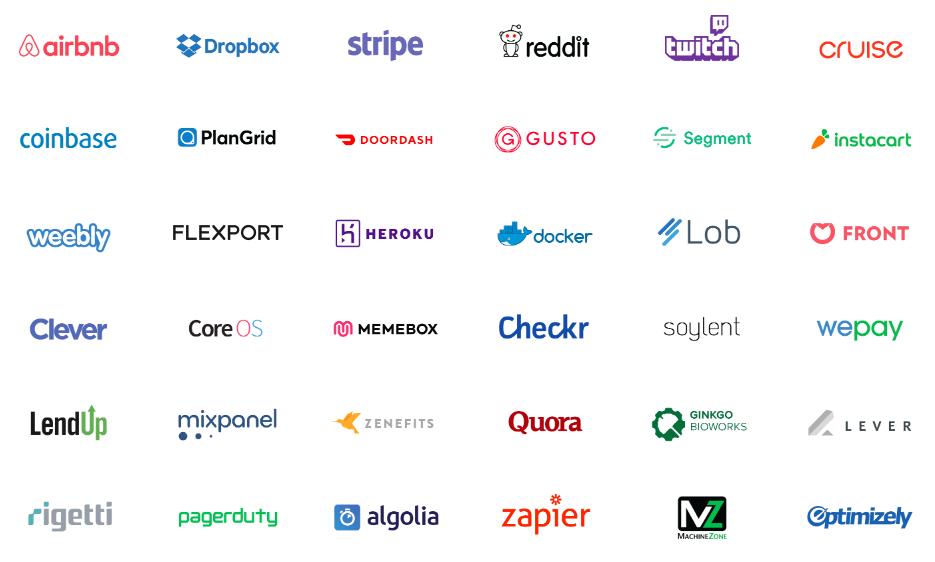 Стартапы, вошедшие в список 100 самых успешных стартапов-выпускников Y Combinator