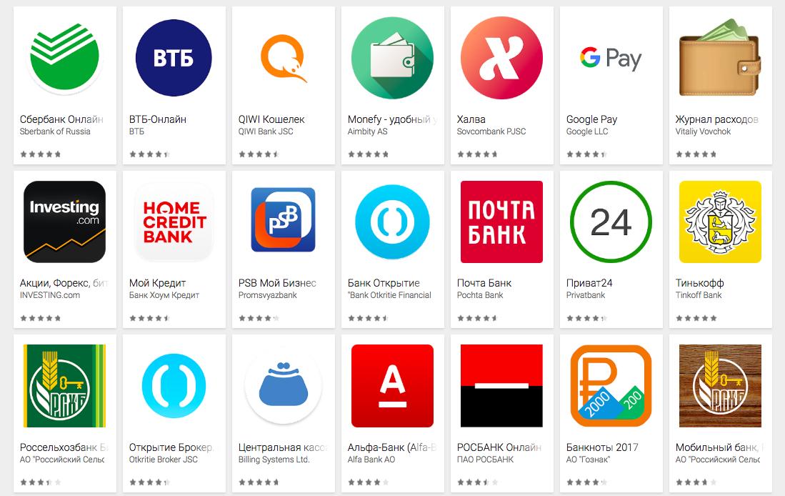 Самые популярные финансовые приложения в Google Play