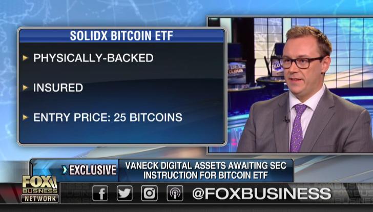 Габор Гурбаш отвечает на вопрос о запуске VanEck SolidX ETF в ходе интервью телеканалу FOX Business