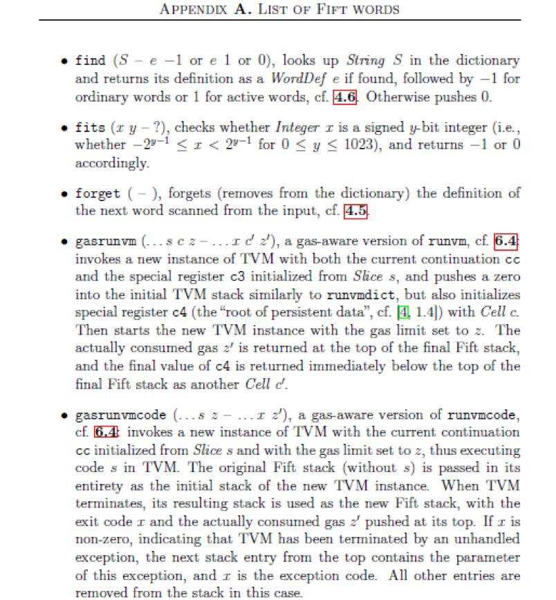 Фрагмент спецификации языка Fift