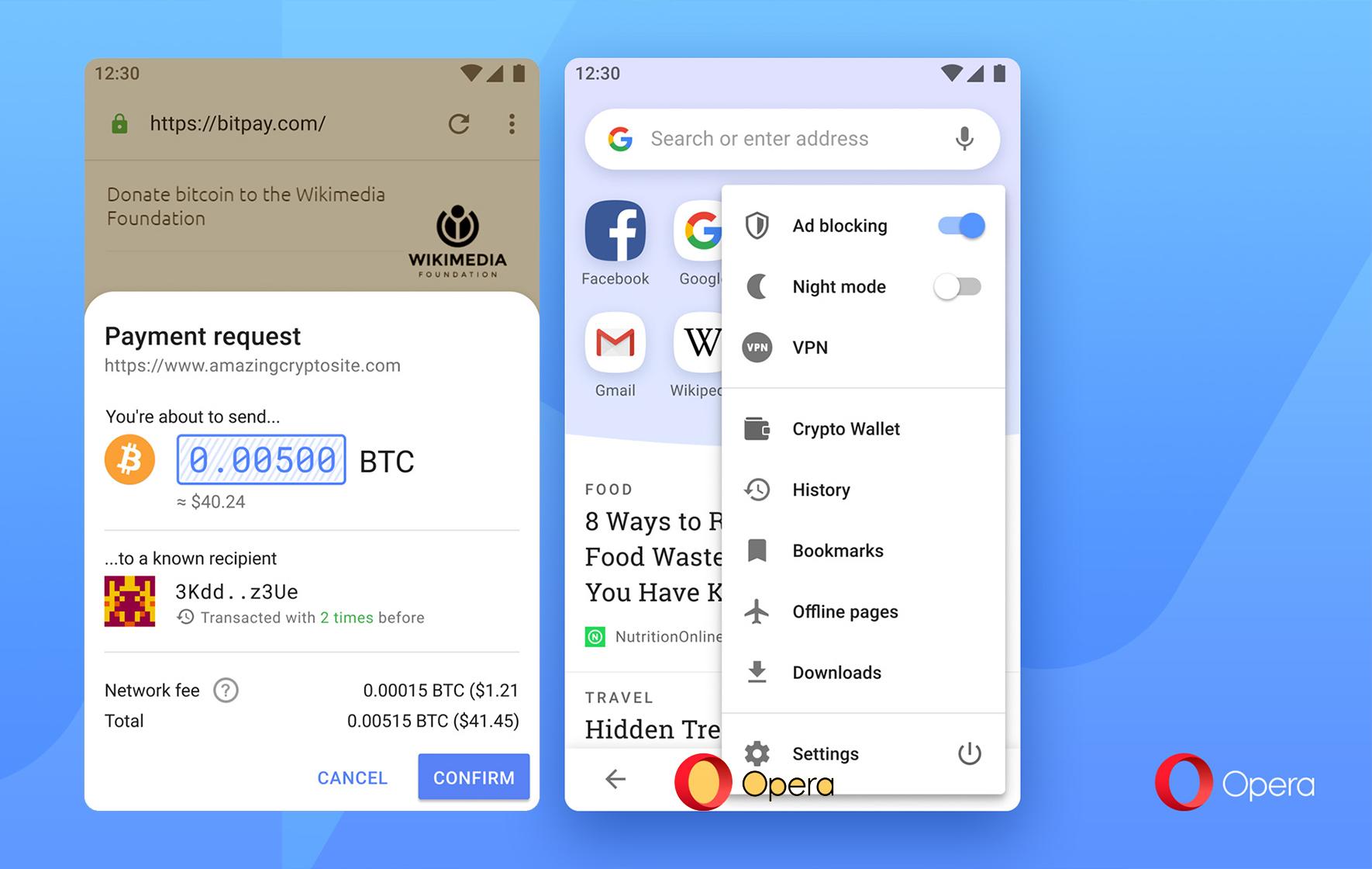 В Opera добавили функционал для проведения криптотранзакций