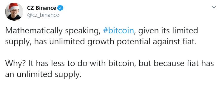 CEO Binance: фиат сделал потенциал роста bitcoin неограниченным