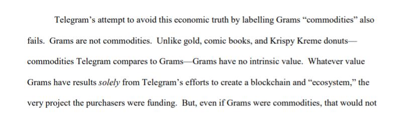 SEC: внутренняя ценность криптовалюты Telegram равна нулю
