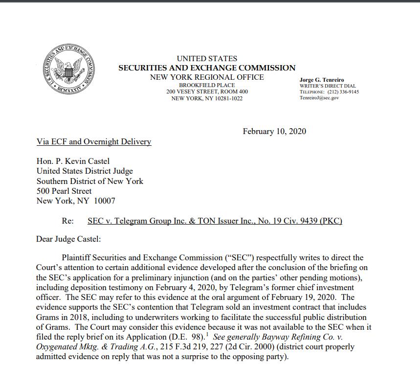 Письмо SEC судье Кастелу по делу против Telegram