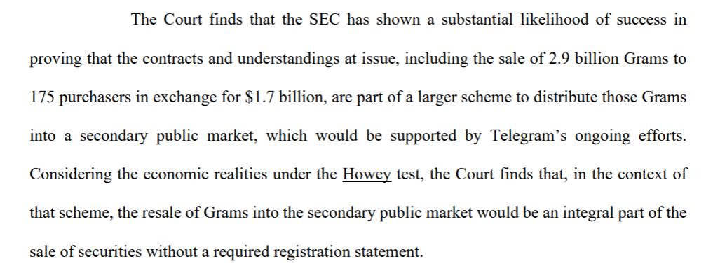Фрагмент решения суда по делу SEC vs TON