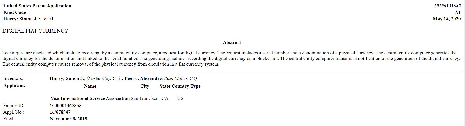 Visa подала патент на обеспеченную фиатом цифровую валюту